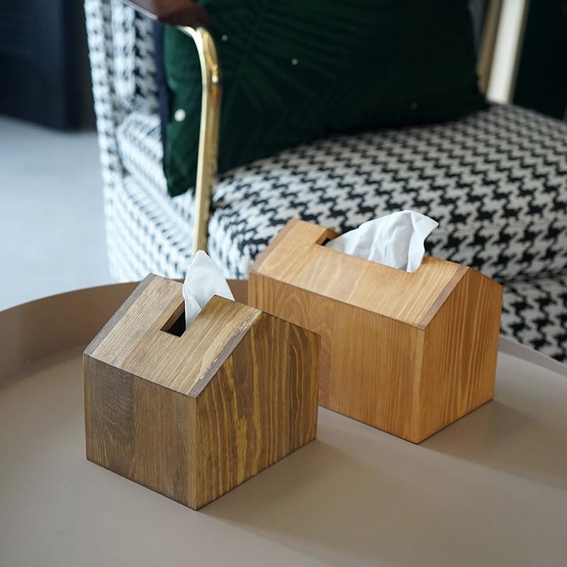 1Pc Nordic Wooden Tissue Box House styling Dining Table Napkin Holder Toilet Tissue Paper Dispenser