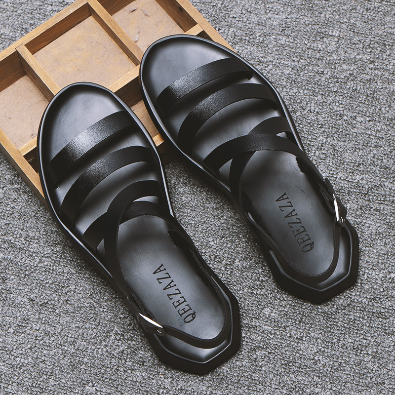 Mens Sandals Leather Men Summer Shoes 2020 Flat Beach Sandals Male Black White Shoes 2020 new