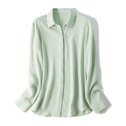 100% натуральный шелк креп Женские топы и блузки белая рубашка Элегантная с длинным рукавом Офисная женская блуза Корейская летняя рубашка