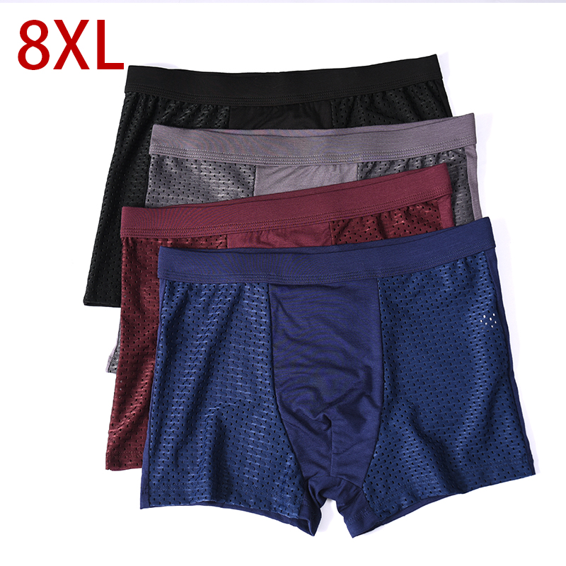 8XL Plus Banboo Fiber Men Underwear Male Boxer  Solid Panties Shorts Men's Cotton Underpants Breathable Intimate Man Boxers 4pcs