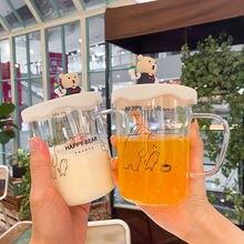 450 мл силиконовая стеклянная чашка медведя с крышкой милые