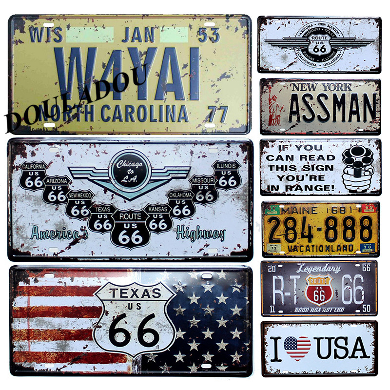 [Douladou] New Route 66 Vintage Classic Painting Decor Garage Room Metal Tin Signs Bar Club Car Number Wall Plaque Poster30x15CM