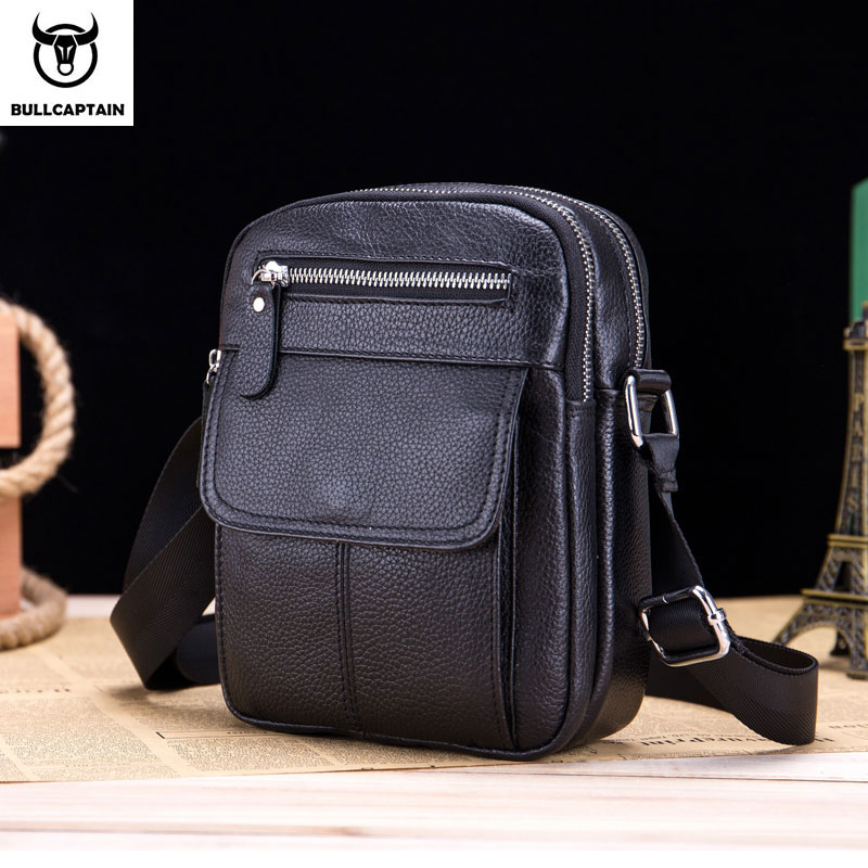 BULLCAPTAIN Men's Tote Bag New Fashion Men's Leather Messenger Bag Men's Messenger Shoulder Business Men's Bag Leather Chest Bag