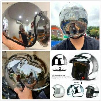 Casco de crucero para motocicleta, superventas, clásico, bonito casco de moto retro, casco de moto retro cromado plateado con espejo de color semiabiertas