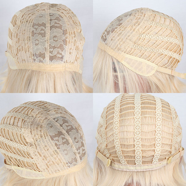 Silky Straight Hair Wig Synthetic 613 Blonde Wigs For Woman Middle Part Blonde Wig High Temperature Fiber Cosplay Wigs Msholy