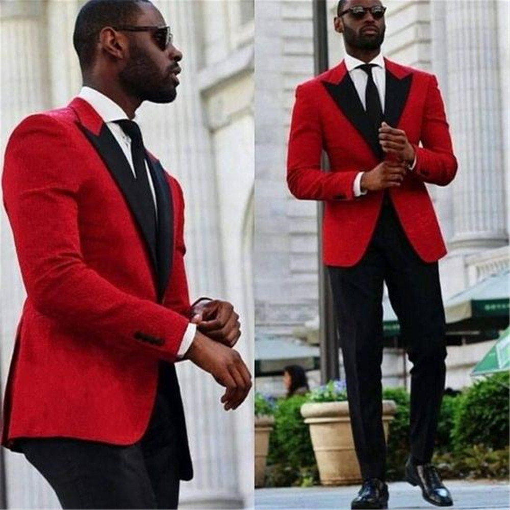 Red Men Wedding Tuxdos Peak Lapel Slim Fit Groom Tuxedos Excellent Men Jacket Blazer  Suit(Jacket+Pants+Tie)