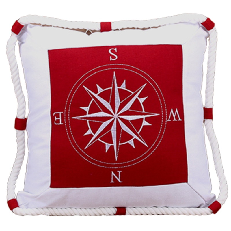 Mediterranean Navigation Furnishing Navy Sea Marine Pillow Case Canvas for Compass Embroidery Cushion Cover
