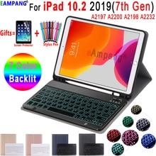 Чехол-клавиатура с подсветкой для iPad 10,2, чехол-клавиатура с карандашом для Apple iPad 7-го поколения A2197 A2200 A2198 A2232, чехол