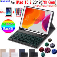 Backlit Keyboard Case for iPad 10.2 Keyboard Case with Pencil Holder for Apple iPad 7th Generation A2197 A2200 A2198 A2232 Cover