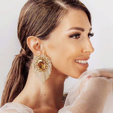 2021 Fashion New Exaggerated Rhinestone Tassel Tassel Earrings Ladies Evening Dress Temperament Claw Chain Earrings