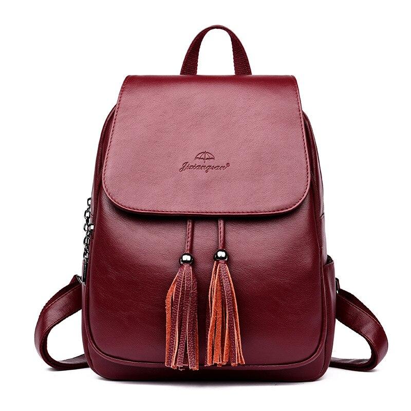 VANDERWAH Female Backpack Women Leather Backpack For Teenage Girls Large Capacity Travel Back Pack Tassel Rucksacks Sac A Dos