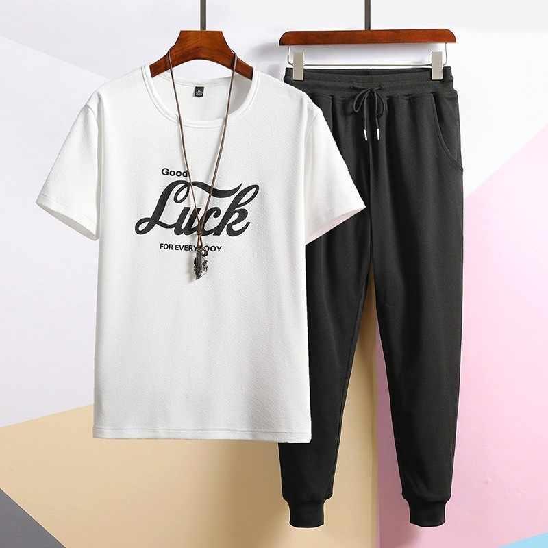 2020 mode Männer 2 Stück Sets Kurzarm Brief Druck Oansatz T-Shirts Und Elastische Taille Harem Hosen Hip Hop Zwei stück Sets