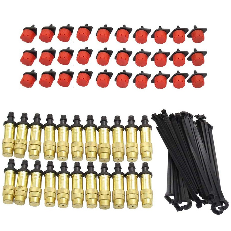 30PCS Brass Misting Nozzle Adjustable 30PCS 8 Hole Red Dripper Emitter 30PCS 4/7MM Fixed Stand Support For 4/7mm Hose|Garden Sprinklers| |  - title=