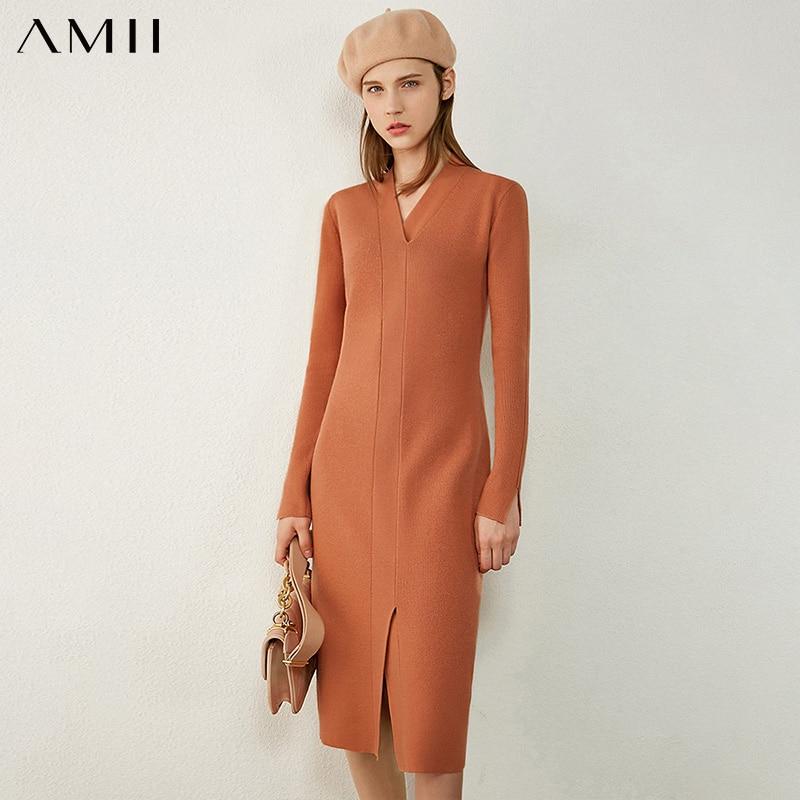 Amii Minimalism Autumn Winter Women's Dress Fashion Vneck Knitted Slim Fit Dresses For Women Temperament Sweater Dress 12040639