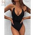 Peachtan Kette ein stück badeanzug frauen V-ausschnitt bademode weibliche Solide monokini Spitze up body Sexy badeanzug strand tragen 2021