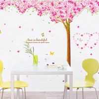 Three piece Cherry Blossom Tree Removable Living Room Girls Bedroom Wall Sticker DIY Home Decor Decal Mural