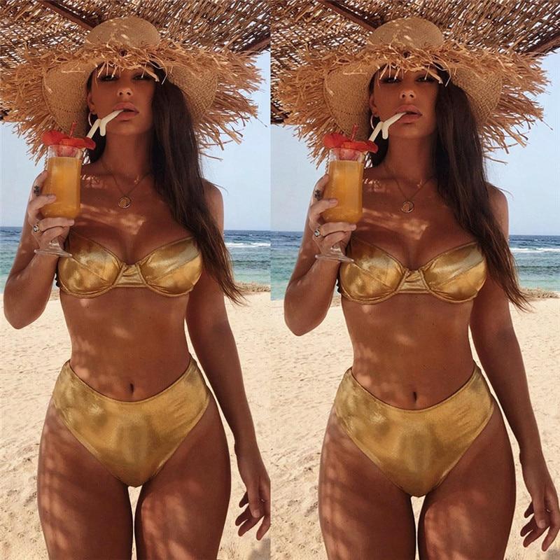 Meihuida Summer Women Bandage Push-up Triangle Female Beachwear Swimwear Bathing Padded Bra Bikini Set Swimsuit