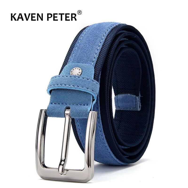 Männer Wildleder Leder Gürtel Mit Oxford Stoff Strap Echtes Leder Luxus Pin Schnalle Blau Gürtel Für Männer 3,5 cm und 4,0 cm Breite