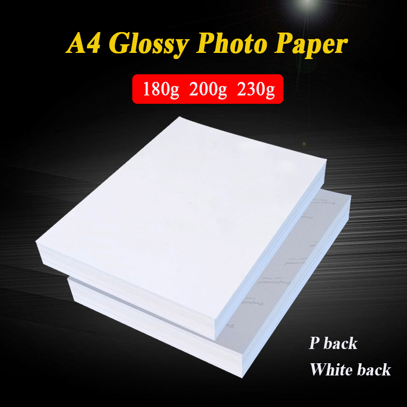 A4 100 Sheets High Glossy Photo Paper Glossy Printer Photographic Paper For Inkjet Printers Office Supplies 180g 200g 230g