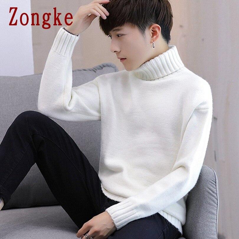 Zongke Solid White Turtleneck Men Sweater Turtle Neck Men Pullover Sweater Men Coat XXXL 2019 Autumn Winter Man Sweaters
