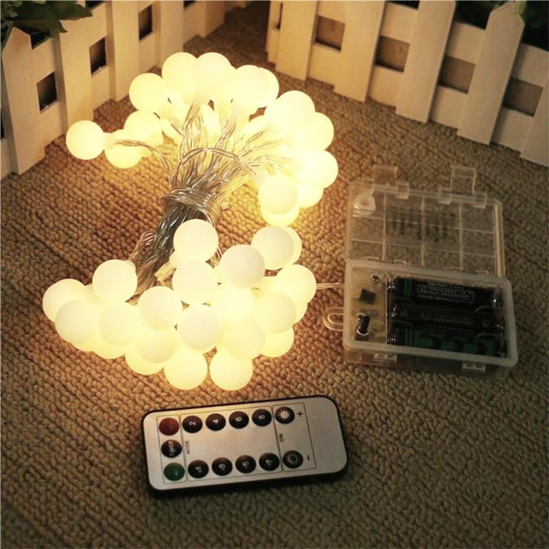 Уличная Водонепроницаемая светодиодная гирлянда с шариками, Сказочная гирлянда с питанием от батареек 3 * AA для рождества, свадьбы, сада, веч...