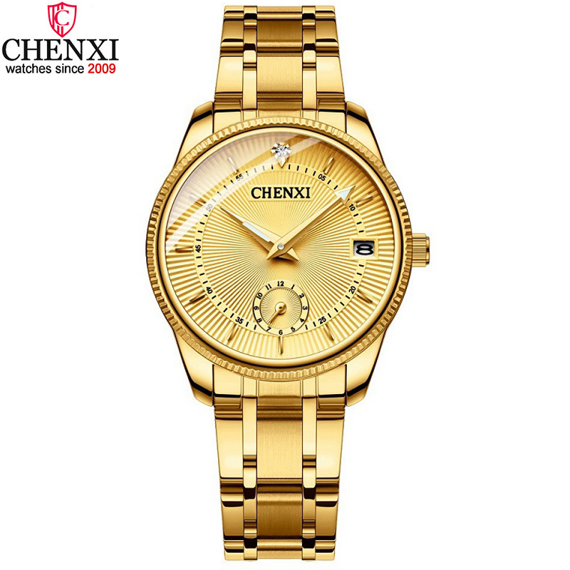 CHENXI Luxury Golden Lady Watch Top Brand Minimalism Calendar Waterproof Quartz Women's Watch Business Dress Clock 069IPG