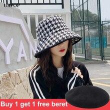 Uspop春秋の帽子女性ブラックホワイトタータンチェック帽子女性ツイード格子縞のバケツの帽子
