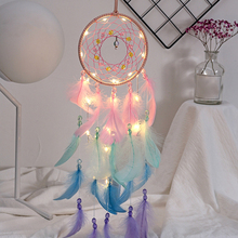 купить 2019 New Wall Dreamcatcher Led Handmade Feather Dream Catcher Braided Wind Chimes Art For Dreamcatcher Hanging Home Decoration дешево