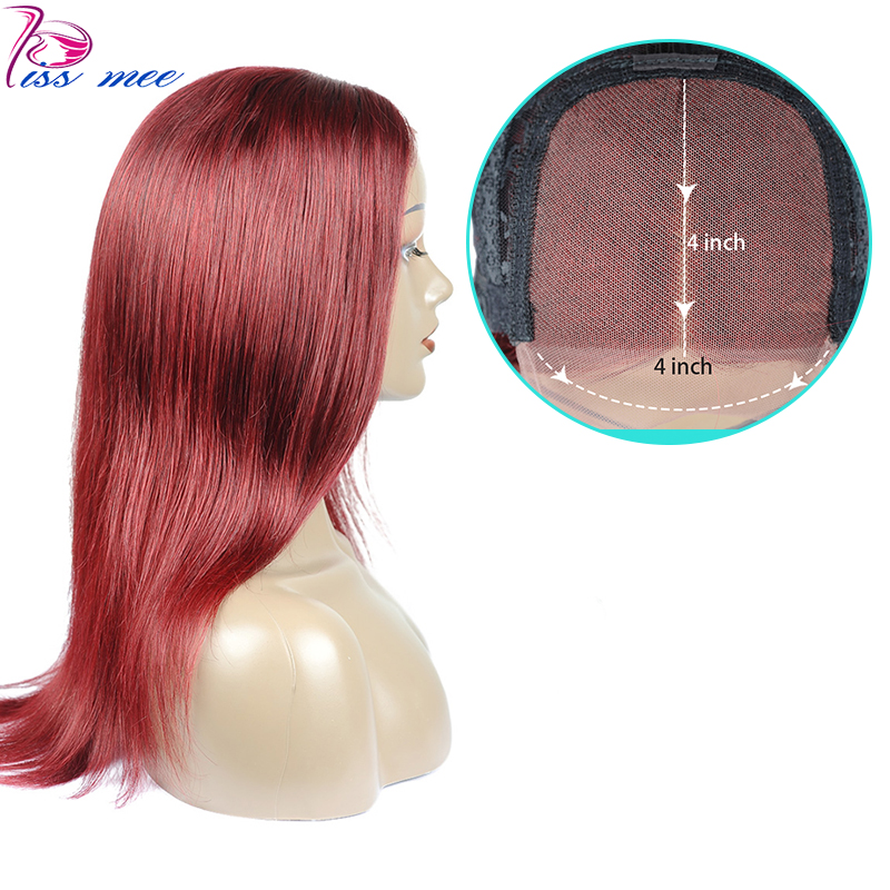 Kissmee 99J Burgundy Red Human Hair Wig  Long Straight Lace Closure Wigs Pre Plucked 4*4  Remy Brazilian Hair Wigs With Closure