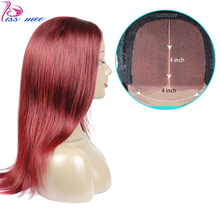Kissmee 99J Burgundy Red Human Hair Wig  Long Straight Lace Closure Wigs Pre Plucked 4*4 Remy Brazilian With