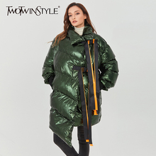 Parkas Winter Fashion Women TWOTWINSTYLE Cotton Coat Patchwork Long-Sleeve Female Casual