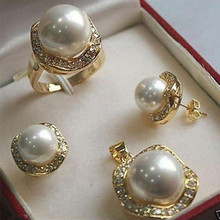 FYS004 Multi color Choices White green  AAAA CZ White  South Sea Shell Pearl Ring Pendant Earring Jewelry Set