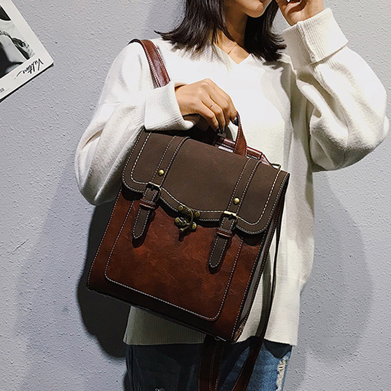 Vintage Pu Leather Women Backpack Preppy Style Backpacks Fashion School Bag College Girl Backpack Shoulder Bags Mochila Feminina