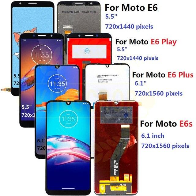 Dla Moto rola Moto E6s LCD E6 Play E6 Plus wyświetlacz ekran dotykowy czujnik digitizer montaż dla moto E6 Plus E6 E6S LCD z ramą