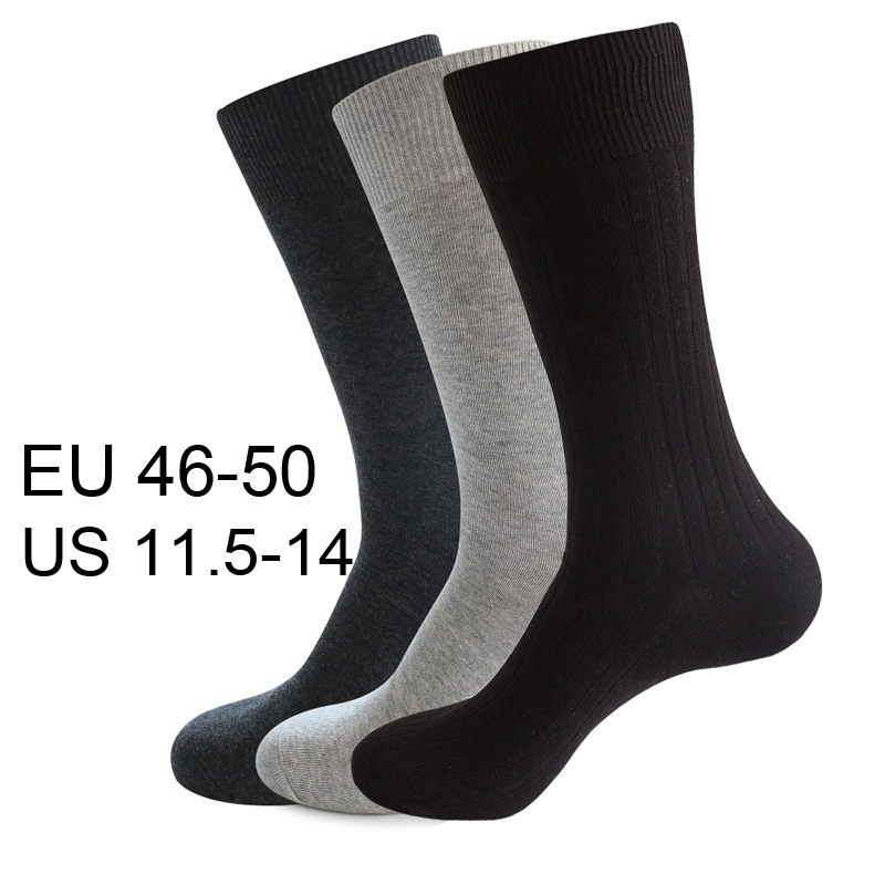 High Quality 10 Pcs=5 Pairs Comb Cotton Men Dress Socks Plus Size Black Long Business Classic Solid Color Socks 46 47 48 49 50