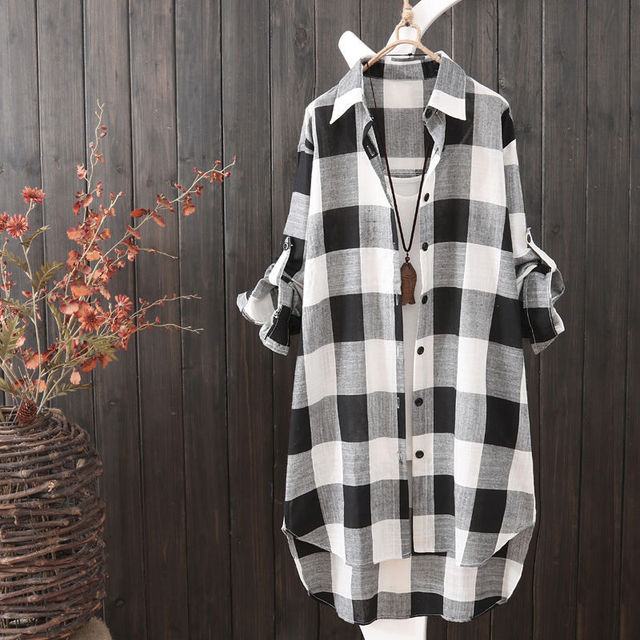 Summer Autumn Fashion Oversized 5xl Long Plaid Shirt Women Chic Checked Blouse Long Sleeve Female Loose Casual Shirts  Blusas 3