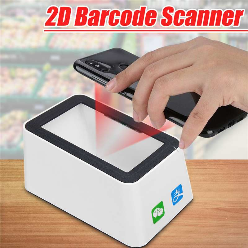 Wired Bar Code Reader Barcode Scanner USB Versatile Scanning Hands-free Scan QR Code 2D Code Reader for Stores Supermarkets