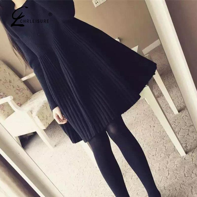 Chrleisure Autumn And Winter Women Knit Sweater Dress Fashion Solid Color Long Sleeve Female Knitted Sweaters Slim Clothes
