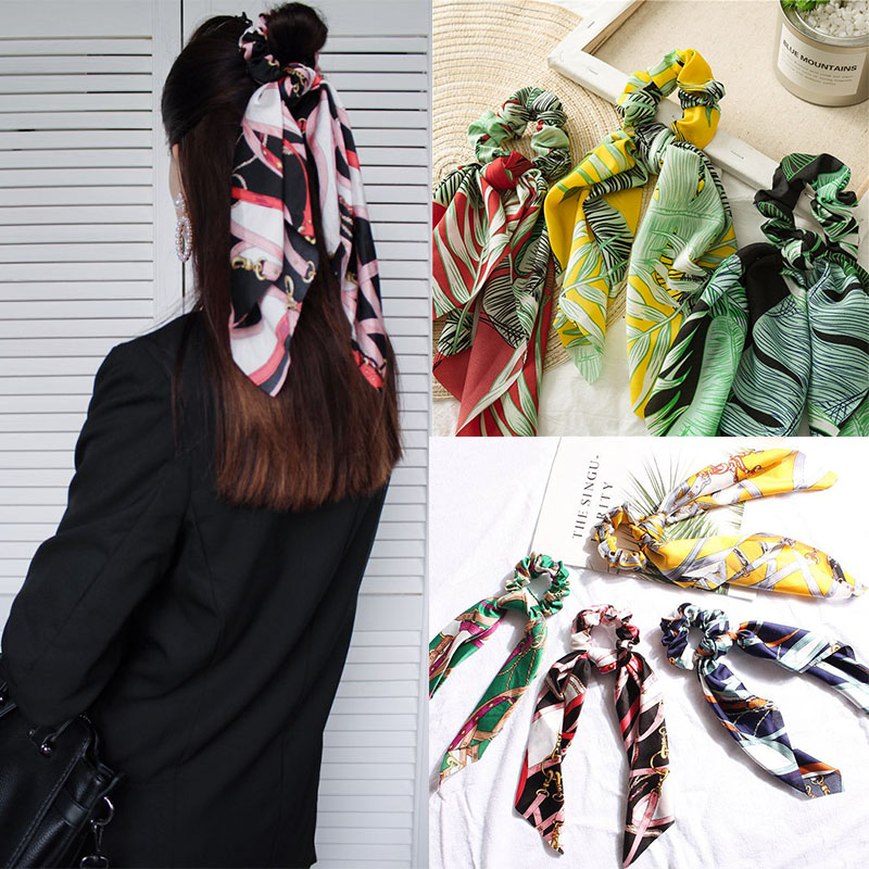 Las mujeres pelo lazos Scrunchies pelo banda de moda Pelo elástico cuerdas bufanda flor imprimir cinta de pelo