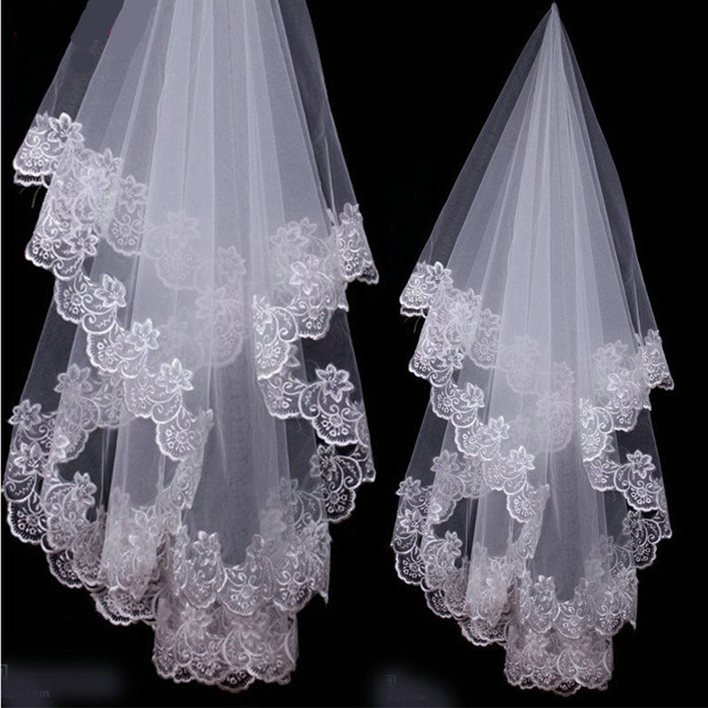 Short Wedding Veil 1Layer White Ivory Bridal Veil Appliques Lace Edge No Comb Cathedral Wedding Veil Wedding Accessories