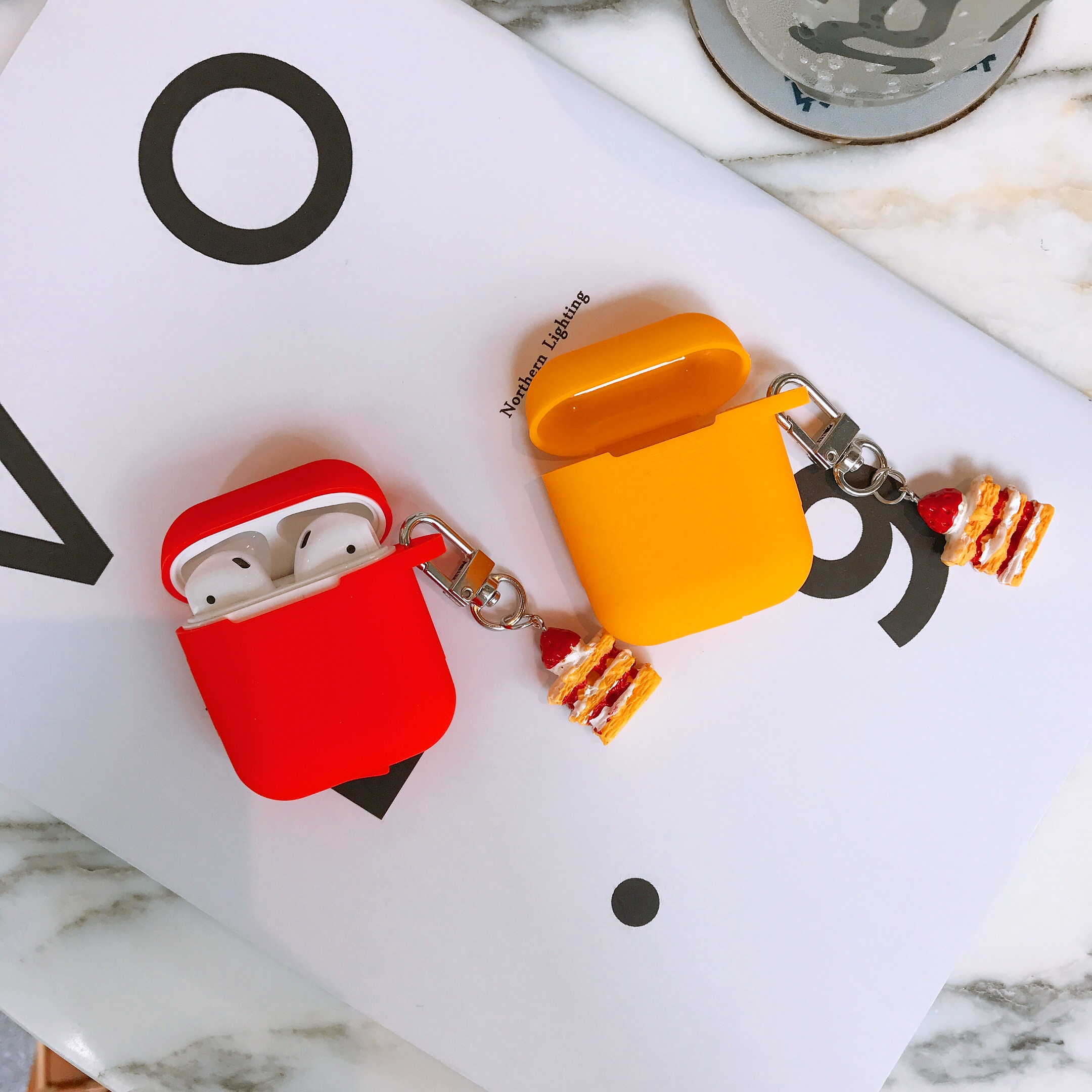 Cute 3D cake silicone case Earphone Headset silicone case For Airpods Bluetooth Wireless Charging case with pendant in Earphone Accessories from Consumer Electronics