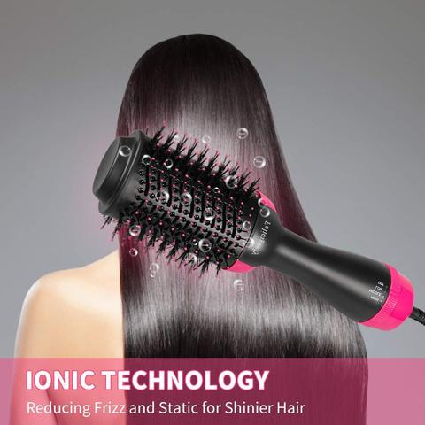 um passo secador de cabelo grande escova