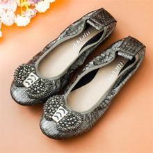 AUCVEE Big Size 34-44 Ladies Flats Shoes Genuine Leather Round Toe Women Ballet Flats Shoes Slip On String Bead Bow Female Flats floral shoes female 2018 genuine leather women s flat shoes handmade slip on stitches flats round toe comfort shoes for women