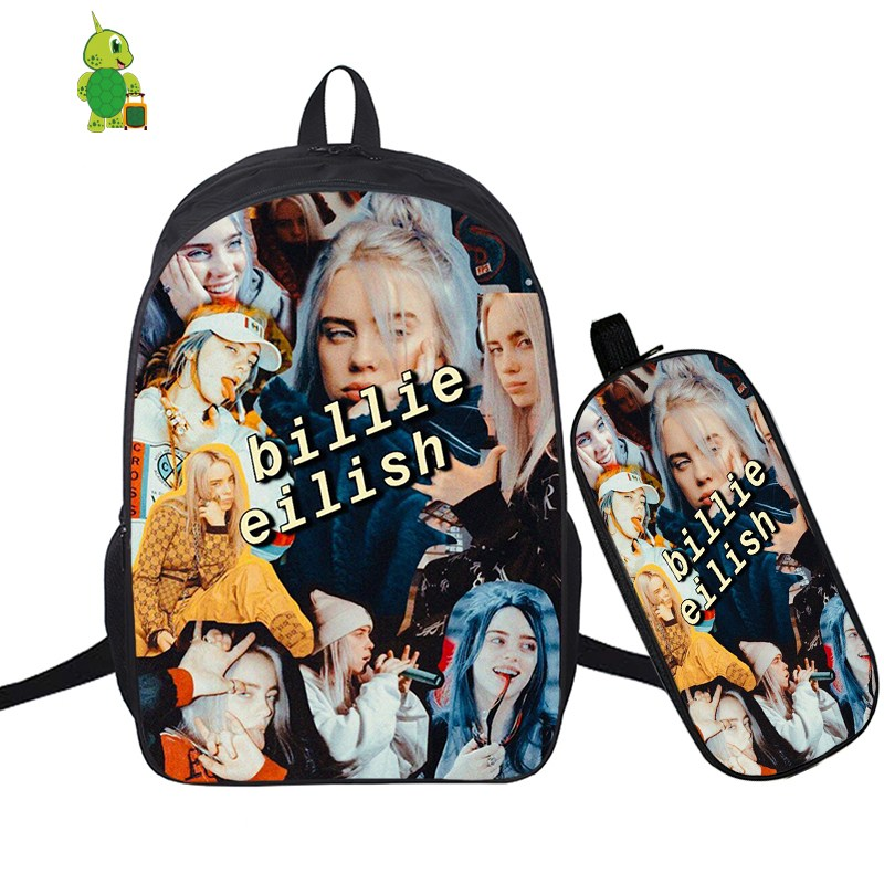 Hip Hop Billie Eilish 2 Pcs/Set Backpack School Bags For Teenagers Boys Girls Students Laptop Backpack Pencil Case Travel Bags