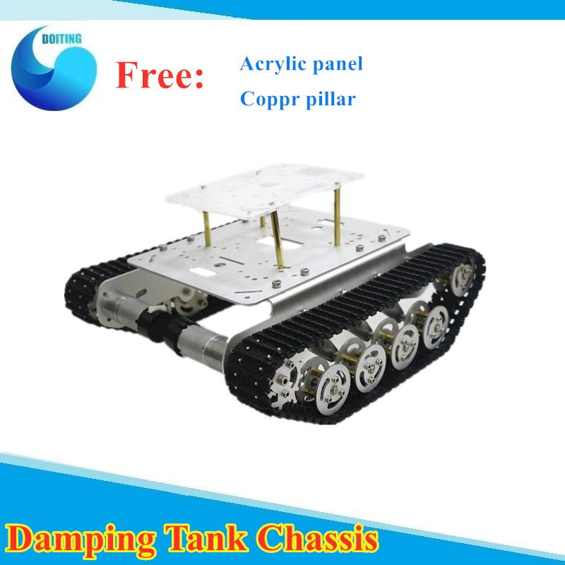<font><b>TS100</b></font> Shock Absorber Metal <font><b>Tank</b></font> Chassis with Free Acrylic Frame for Arduino Car DIY Kit Teaching Platfrom Education Teaching image