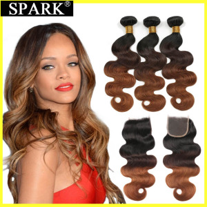 Spark Ombre Brazilian Body Wave Human Hair Bundles With Closure Remy Hair Human Hair Weave 3 Bundles with Closure For Black(China)