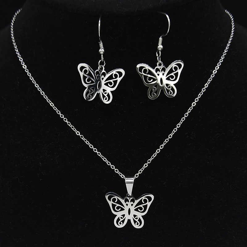 2020 moda motyl biżuteria ze stali nierdzewnej zestawy kobiety kolczyki w kolorze złota zestaw naszyjników bijoux plaquer lub 178576