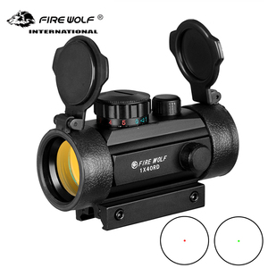 Fire wolf 1x40 Hunting Riflescopes Tactical Holographic Red Dot Green 11mm/20mm Mount Optical Sight Rifle Gun Scope Airsoft Arma