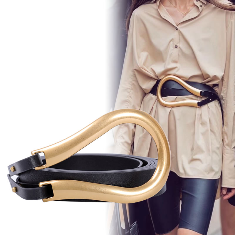 Fashion Women Belt Large Horseshoe Buckle Pu Leather Belt New Punk Wind Individual Decorative Women Belts Microfiber Double Belt