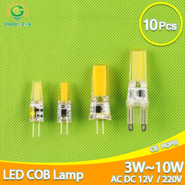10Pcs LED G4หลอดไฟAC DC 12V 220V Dimmable Cob Led G9 3W 6W 10W COB LEDโคมไฟเปลี่ยนหลอดฮาโลเจนSpotlightโคมไฟระย้า